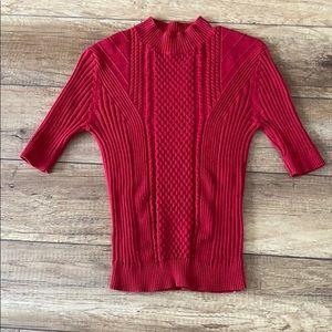 Red knit quarter sleeve mock-neck